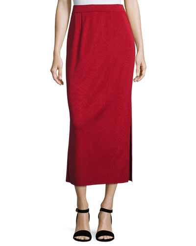 Long Straight Knit Skirt, Vintage Rose, Plus Size