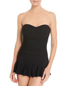 Tutti Frutti Bandeau One-Piece Swimdress, Black