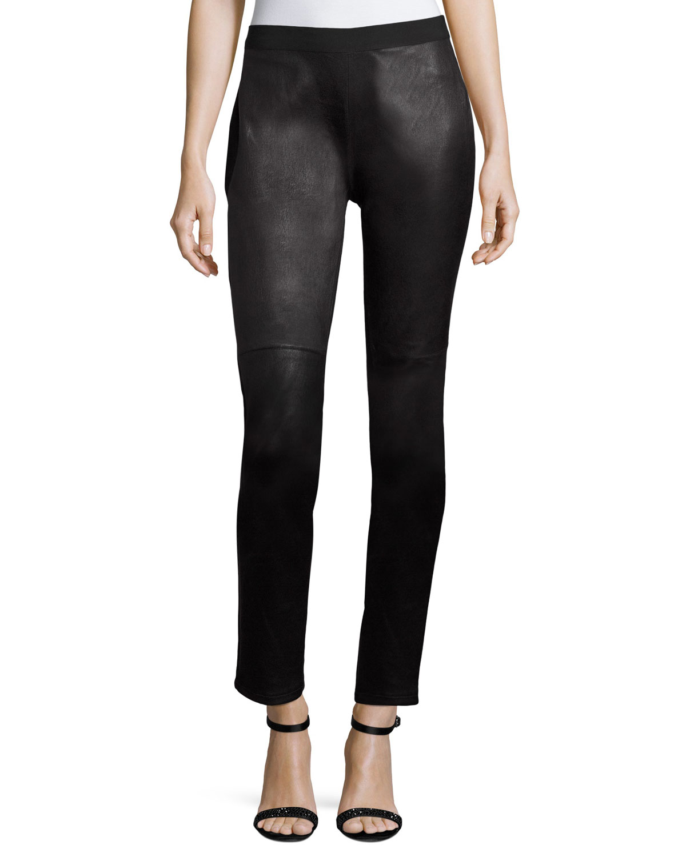 Ponte Leather-Blocked Leggings, Plus Size