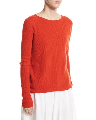 Ribbed Raglan Cashmere Sweater, Orange