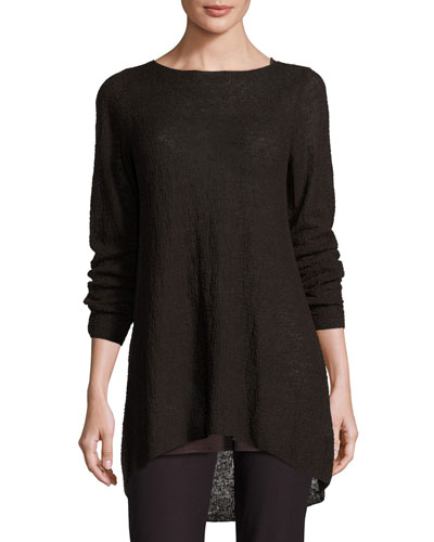 Textured Organic Linen Bateau-Neck Tunic