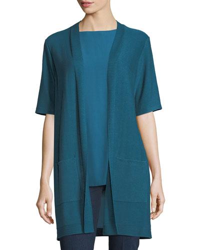 Long Simple Half-Sleeve Cardigan, Petite