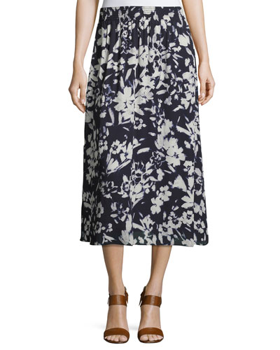 Camrie Floral-Print Midi Skirt