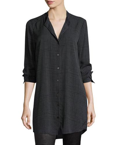 Grid-Printed Silk Crepe Mandarin Long Button-Front Shirt, Plus Size