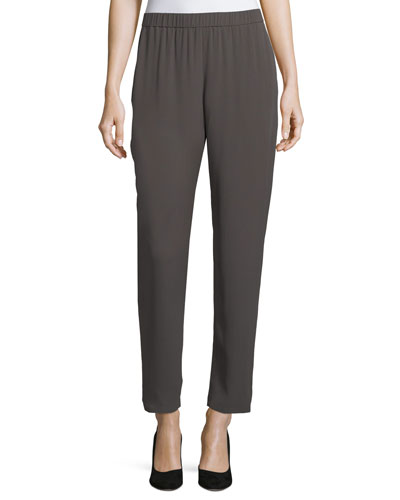 Slouchy Silk Georgette Ankle Pants, Plus Size