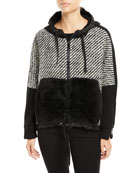 Maglia Fur-Trim Tweed Sweatshirt