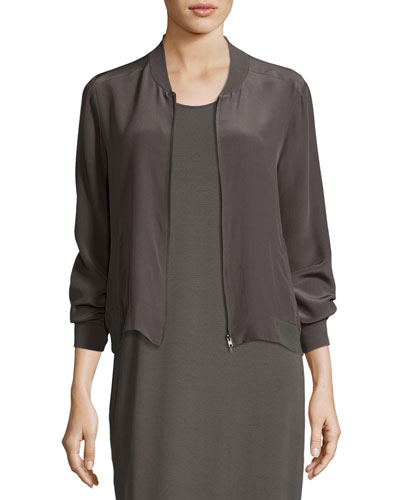 Silk Crepe de Chine Easy Zip Bomber Jacket, Petite