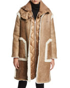 Cotoneaster Leather Shearling-Trim Jacket w/ Quilted Puffer Vest