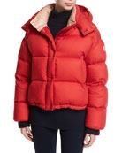 Paeonia Quilted Puffer Jacket, Red