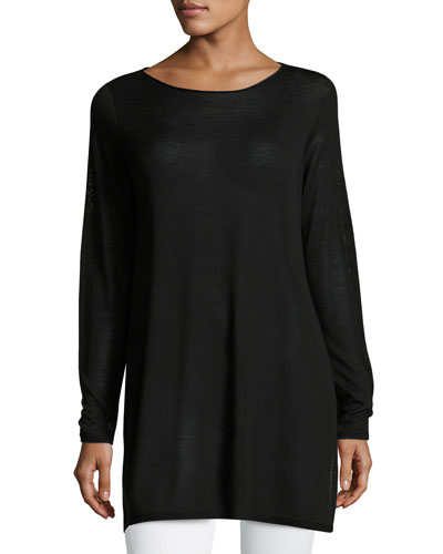 Long-Sleeve Seamless Knit Ballet-Neck Tunic, Petite