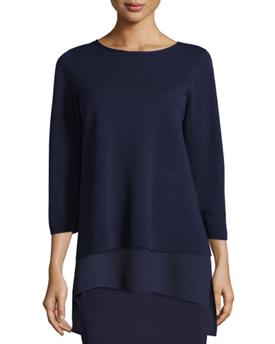 Interlock Bateau-Neck 3/4-Sleeve Boxy Top, Plus Size