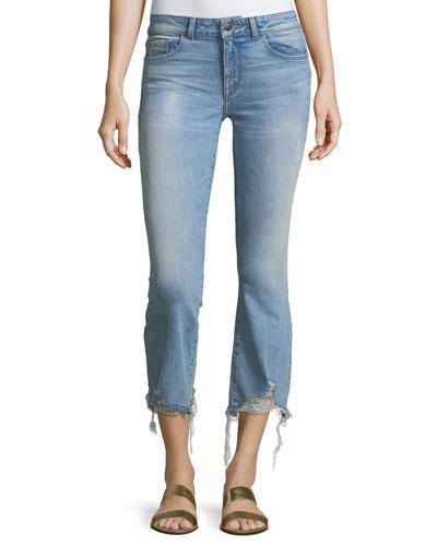 Lara Glacier Crop Flare-Leg Distressed-Hem Jeans