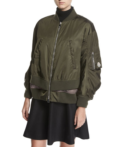 Aralia Ruched Tiered Bomber Jacket, Green/Pink