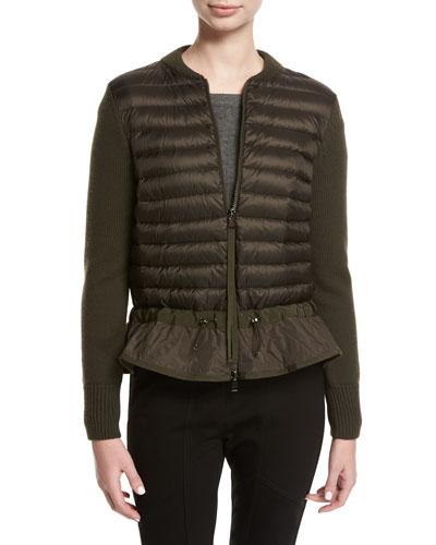 Magli Knit Puffer Combo Jacket w/ Peplum Hem