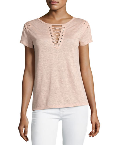 Hugo Lace-Up Linen Top, Pink