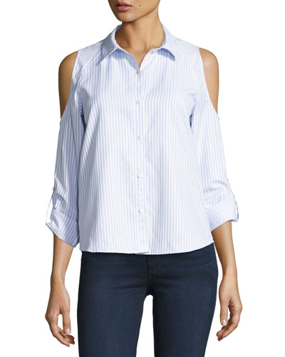 McKenna Striped Button-Front Shirt, Blue/White