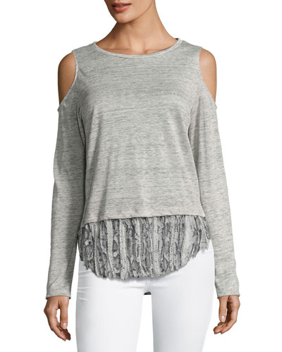 Talia Snake Linen Top, Gray Multi Pattern