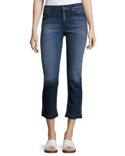 Cropped Straight Jeans, Dark Blue