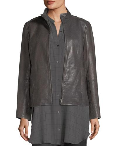 Rumpled Leather Zip-Front Jacket