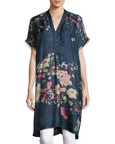 Luda Short-Sleeve V-Neck Silk Twill Printed Tunic, Petite