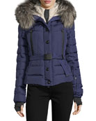Beverly Fox Fur Trim Hooded Coat