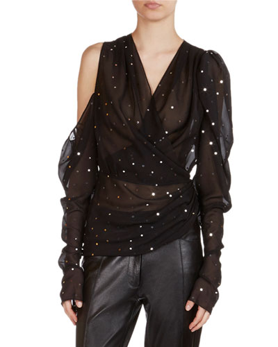 Dresden Strass-Detail Sheer Wrap Top
