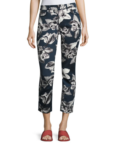 Orchid-Print Cropped Skinny Jeans, Navy