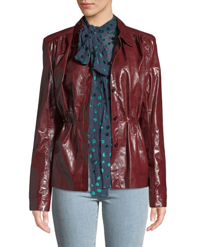 Fargo Belted Leather Shirt Jacket