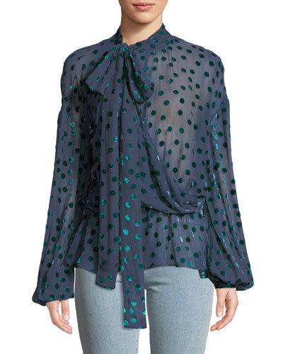 Cali Velvet-Dot Georgette Necktie Top
