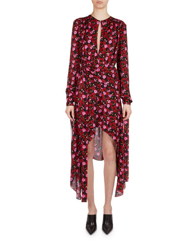Gela Floral-Print Silk High-Low Midi Dress