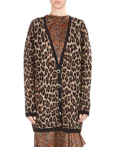Rochester Leopard Intarsia V-Neck Cardigan