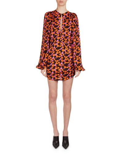 Udine Floral-Print Silk Blouson Minidress