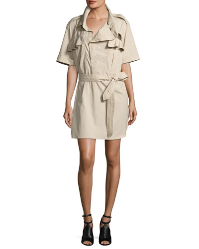 Aerona Oversize-Collar Trench Dress