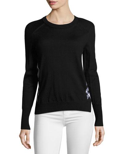 Meigan Long-Sleeve Crewneck Check-Side Sweater, Black