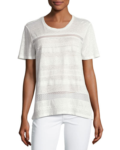 Lace Striped Linen Short-Sleeve T-Shirt