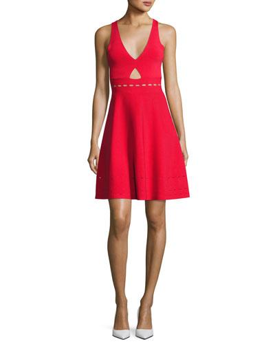 Pointelle Open-Back Short Cocktail Dress, Red