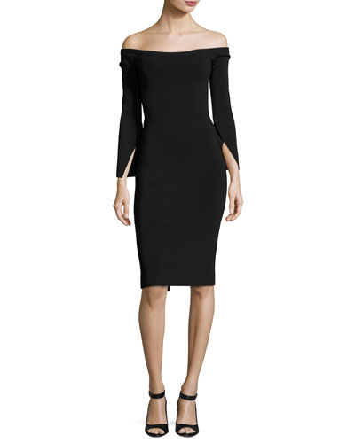 Off-the-Shoulder Fitted Cocktail Dress, Black