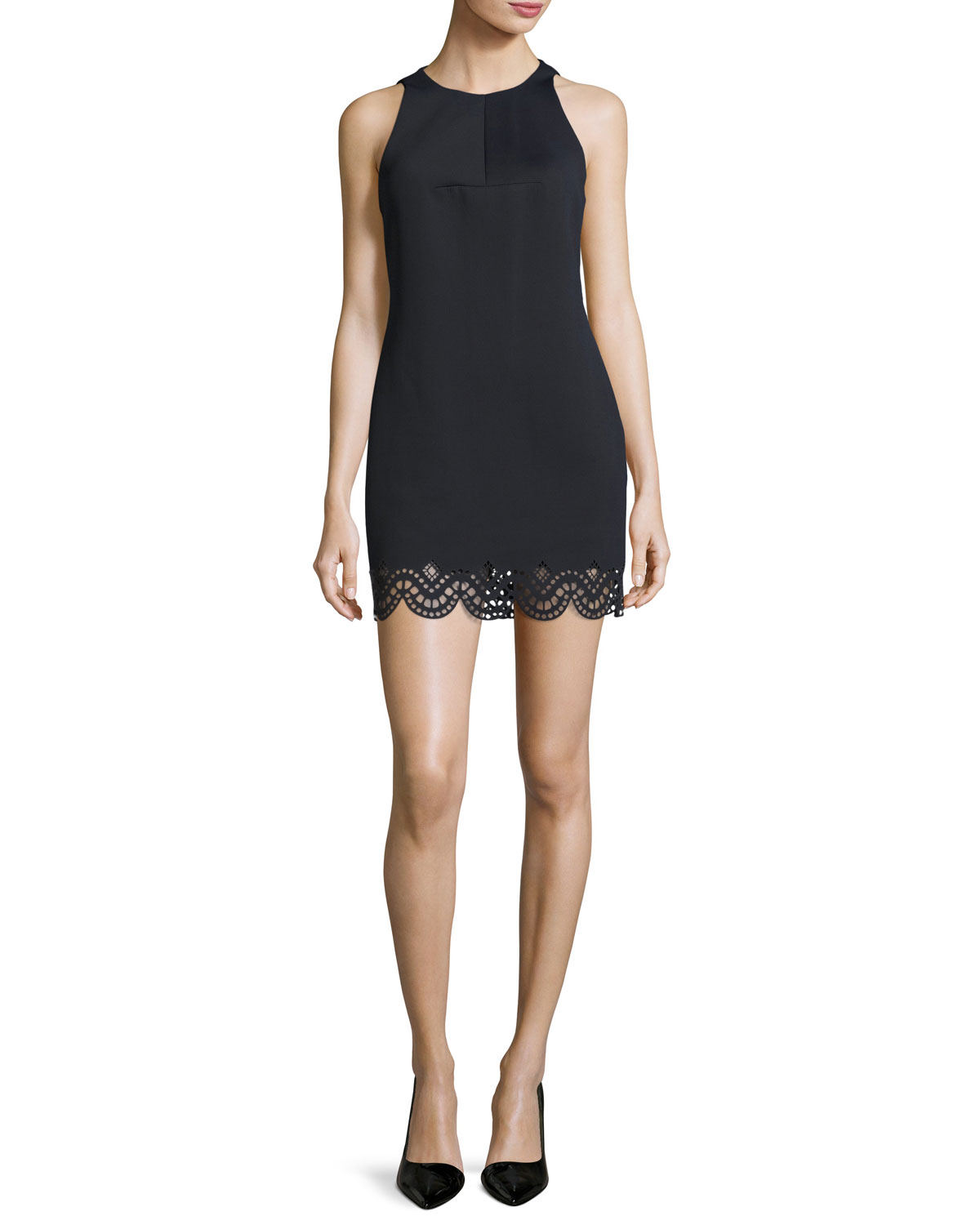 Sleeveless Laser-Cut Mini Cocktail Dress, Black