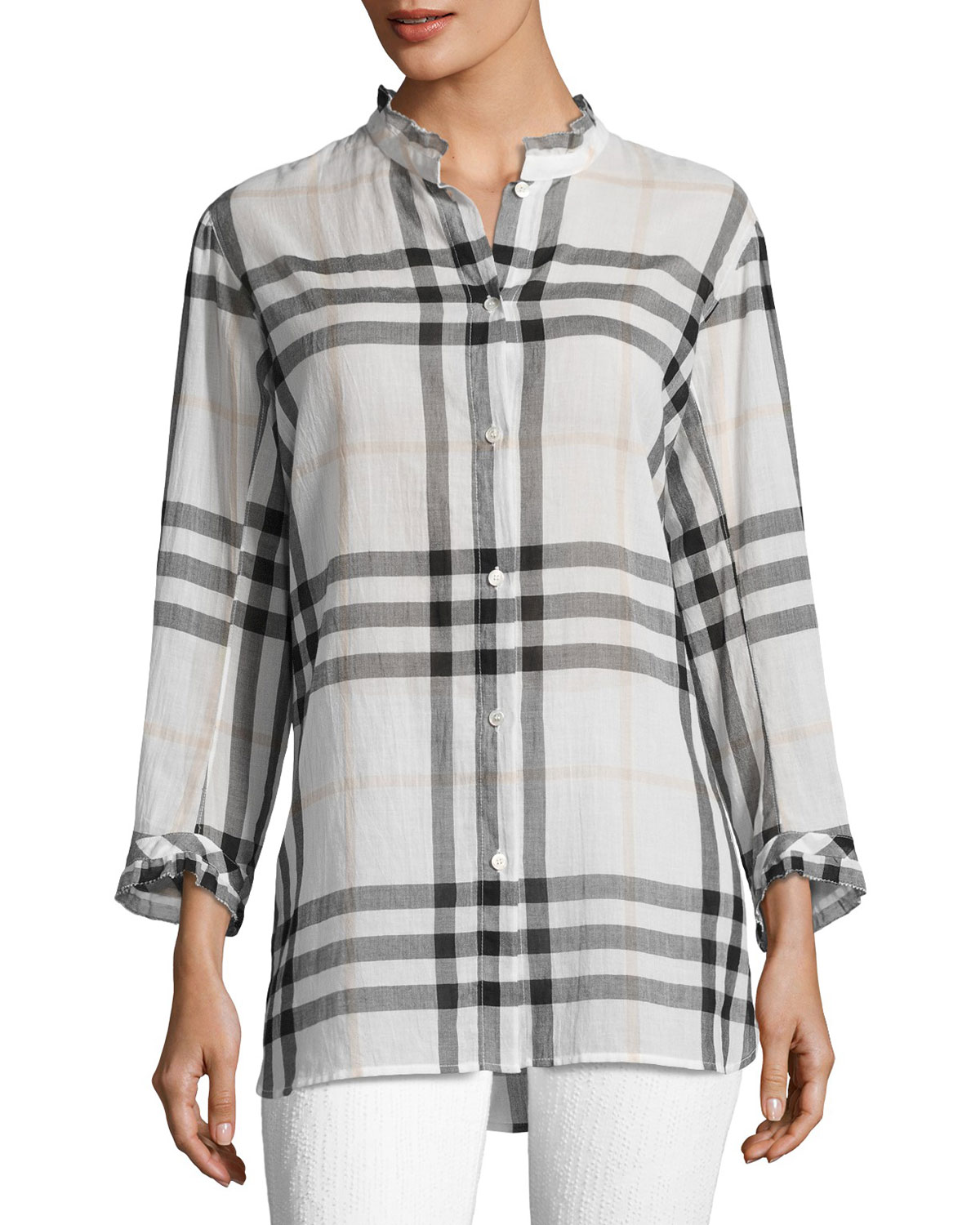 Salla Ruffle-Trim Check Shirt, White