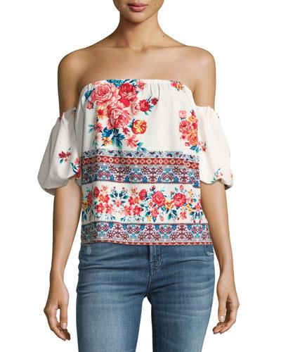 Renata Floral-Print Off-the-Shoulder Top