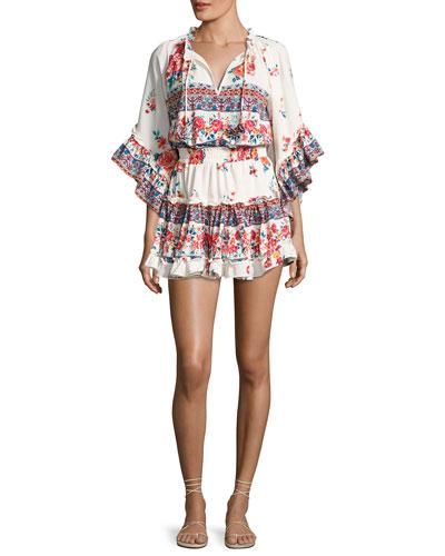 Ximena Ruffled Floral-Print Mini Dress