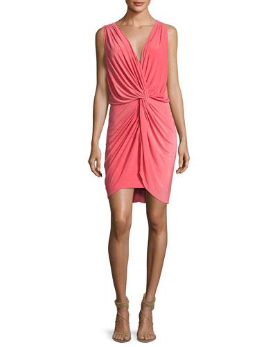 Leza Gathered Crossover Sleeveless Dress, Pink