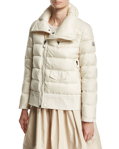 Margaret Quilted Puffer Jacket, Light Beige