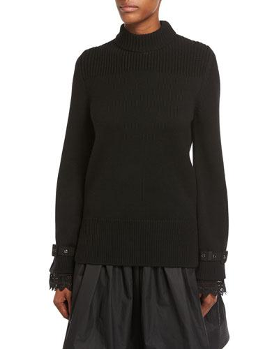 Maglia Lace-Cuff Knit Pullover Sweater
