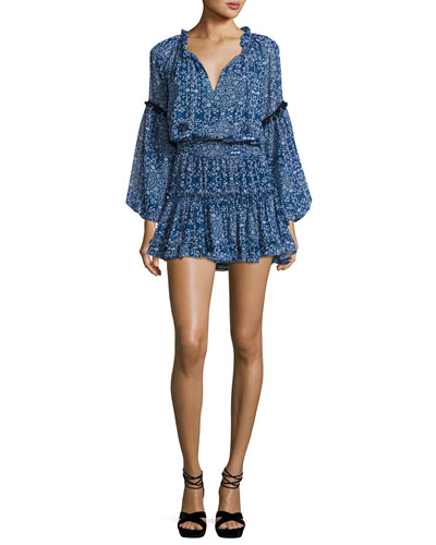 Lizeth Printed Split-Neck Mini Dress