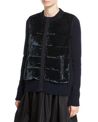 Maglia Velvet Combo Knit Jacket, Navy