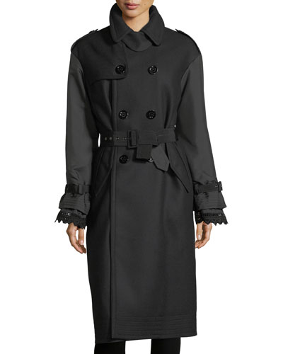 Susanne Mixed-Media Belted Trenchcoat