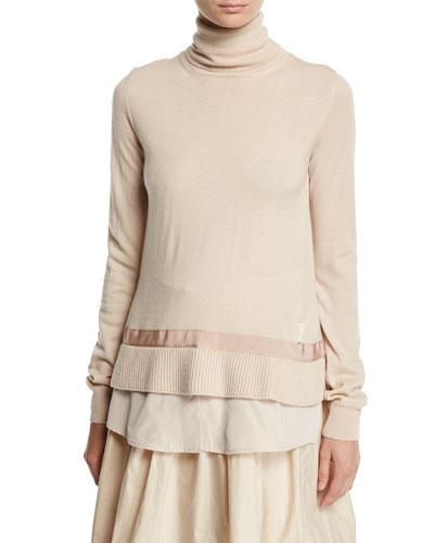 Turtleneck Shirttail Combo Knit Sweater, Ivory