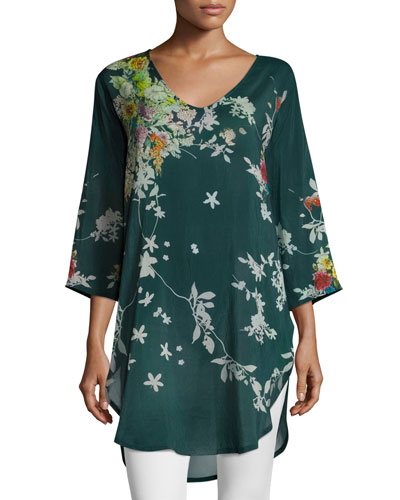 Ficher Scoop-Neck 3/4-Sleeve Printed Blouse