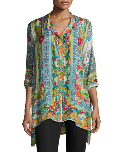 Karino Button-Front Silk Printed Blouse, Plus Size